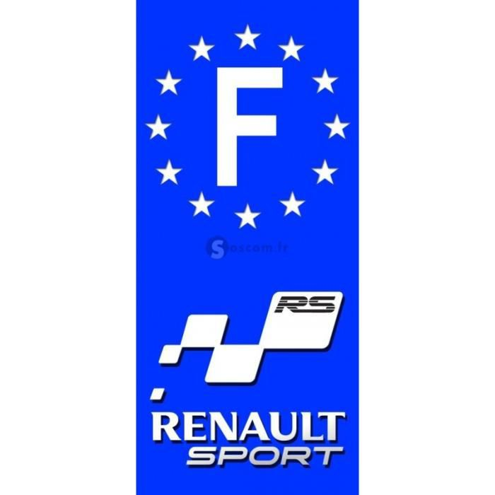 2x stickers plaques d 39 immatriculation renault sport 39 f. Black Bedroom Furniture Sets. Home Design Ideas