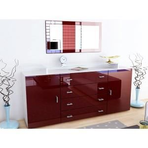 bahut meuble design laqu blanc et bordeaux ou achat vente buffet bahut bahut meuble. Black Bedroom Furniture Sets. Home Design Ideas