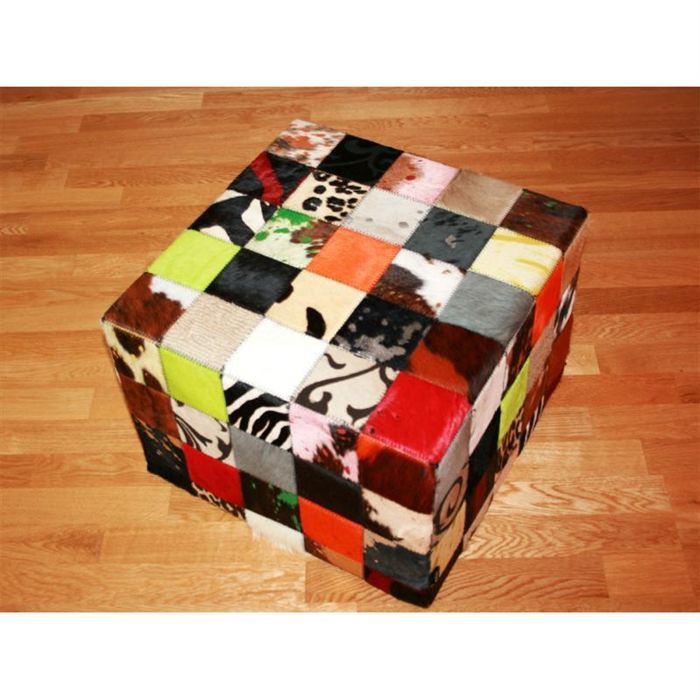 pouf patchwork elmer en peau de vache multicolore achat. Black Bedroom Furniture Sets. Home Design Ideas