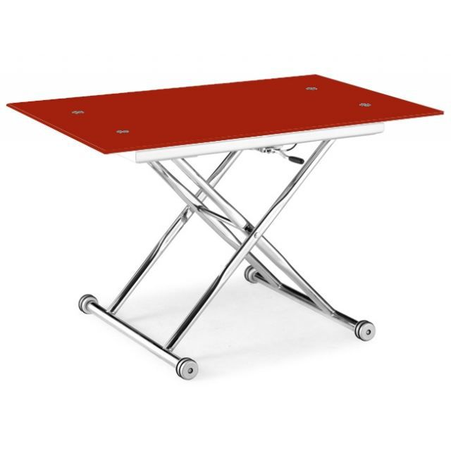 table basse relevable isa verre rouge chrome achat vente table basse table basse rouge. Black Bedroom Furniture Sets. Home Design Ideas