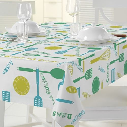 nappe ovale match 140x220 cm dans ma cuisine verte achat vente nappe de table cdiscount. Black Bedroom Furniture Sets. Home Design Ideas
