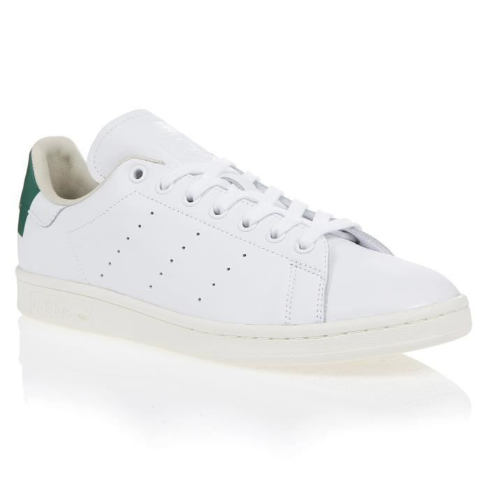 ADIDAS Baskets STAN SMITH HEEL PATCH - Homme - Blanc/Vert