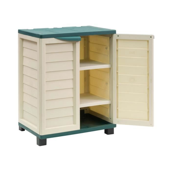armoire en pvc deux portes singapour x x h m vert et beige achat vente. Black Bedroom Furniture Sets. Home Design Ideas
