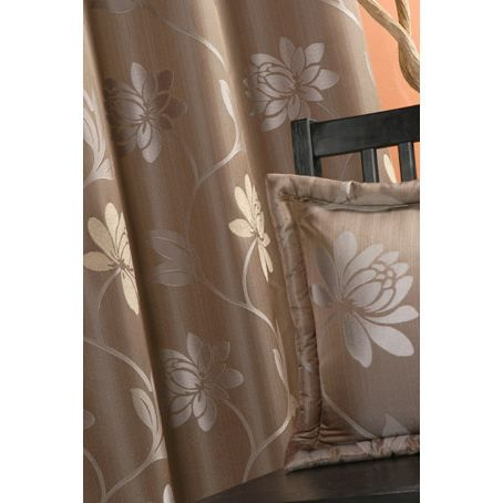 rideaux en jacquard motif fleurs taupe 140 x 260cm achat vente rideau polyester viscose. Black Bedroom Furniture Sets. Home Design Ideas