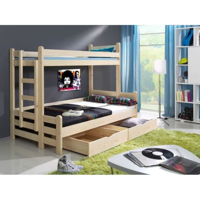 lit superpose timeo en bois sans matelas achat vente. Black Bedroom Furniture Sets. Home Design Ideas