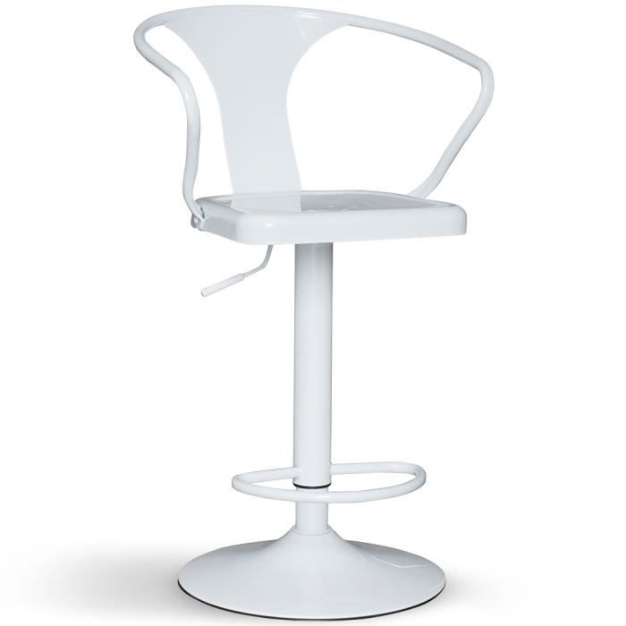 Chaise de bar pivotante m tal blanc achat vente for Achat chaise de bar
