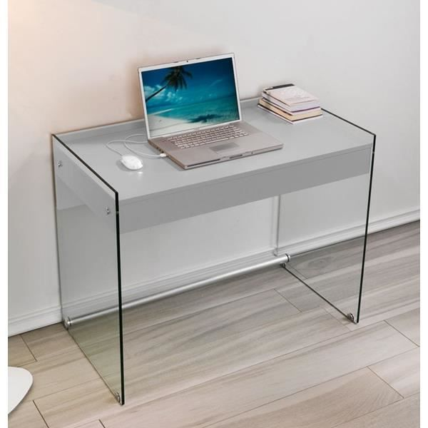 bureau multim dia alpha verre et bois gris achat vente bureau bureau multim dia alpha ver. Black Bedroom Furniture Sets. Home Design Ideas