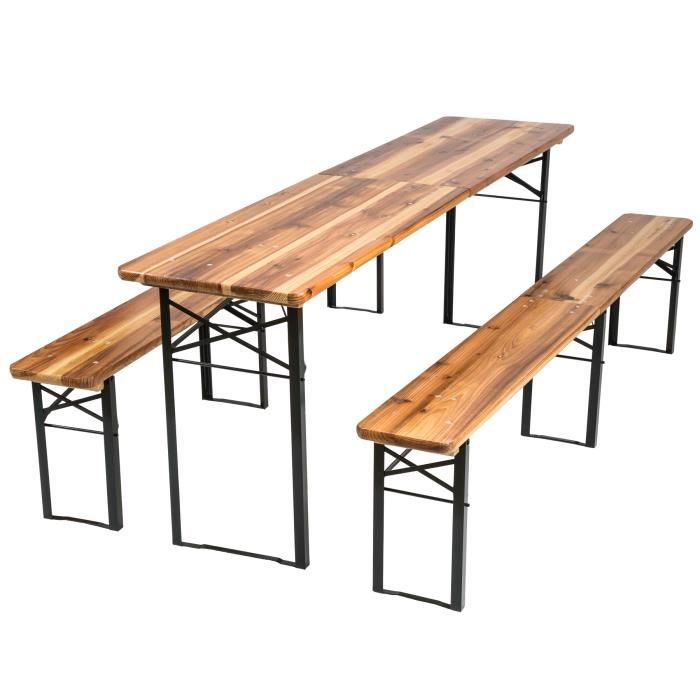 table avec banc en bois achat vente table avec banc en. Black Bedroom Furniture Sets. Home Design Ideas