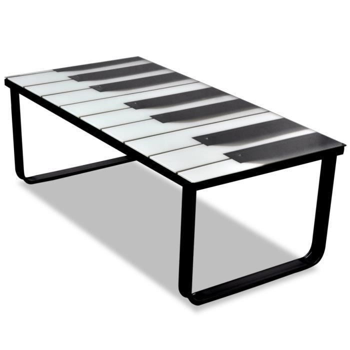 Table basse en verre design piano achat vente table - Table basse verre design ...