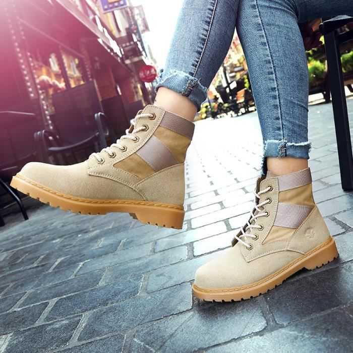 Botte Femme femmes Tendance Fashion High Top Roung Toes Skater Martinjaune taille7
