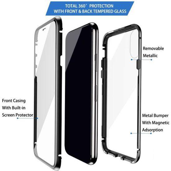 Huawei Honor 8X Coque Verre trempé Couverture Plein écran Métal avec Adsorption Magnétique pour Huawei Honor 8X Bleu