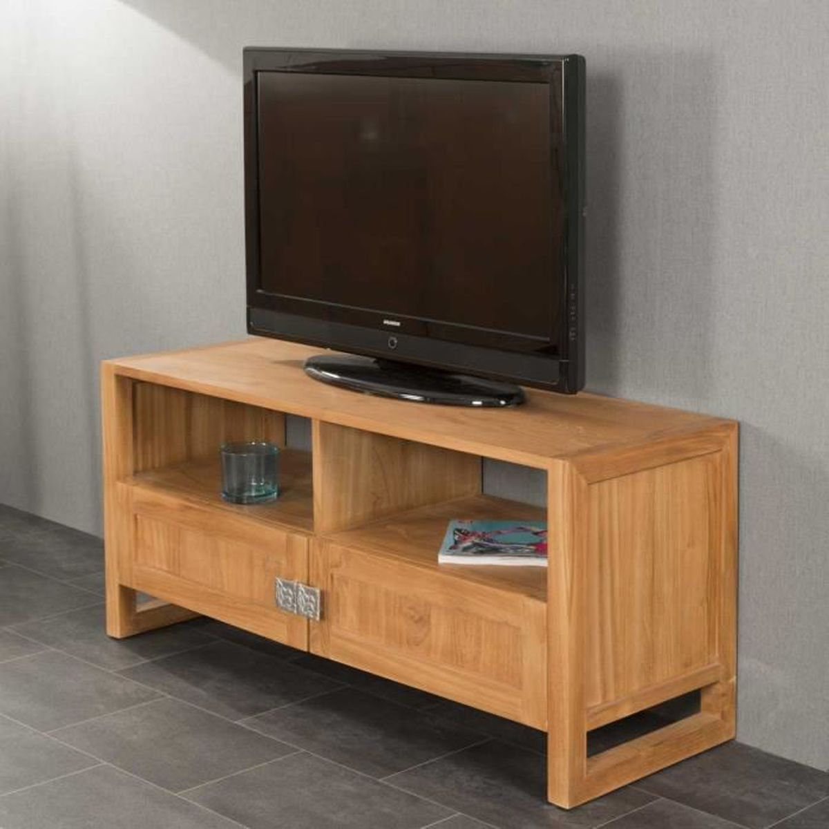 meuble tv en teck thea 110 achat vente meuble tv meuble tv en teck thea 110 soldes cdiscount. Black Bedroom Furniture Sets. Home Design Ideas