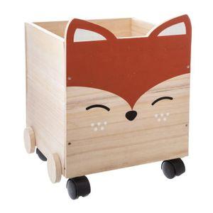 COFFRE À JOUETS Coffre à jouets en bois enfant Renard - Marron
