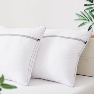 BEDSTORYLot de 2 oreillers Volumineux 60x60 cm Blanc - Doux et Gonflant - Anti-Acarien et Hypoallergénique