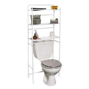 SALLE DE BAIN COMPLETE Meuble toilettes WC métal blanc 3 tablettes étagèr