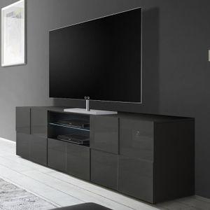 MEUBLE TV Grand meuble TV gris laqué brillant ARTIC 2 L 181