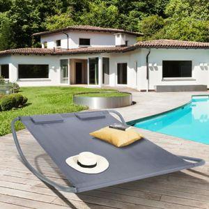 CHAISE LONGUE Lit bain de soleil 180cm toile grise