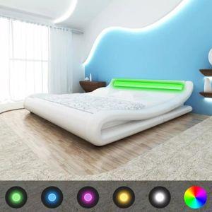 STRUCTURE DE LIT Cadre de lit avec LED 140 x 200 cm Cuir artificiel