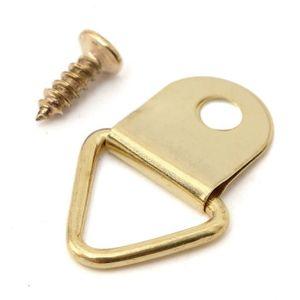 30Pcs Argent D-Ring Photo Cintres Cadre Suspendu 2 Trous /& 60 vis 53×23mm