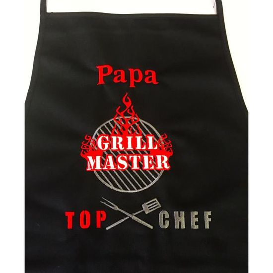 Top Chef Barbecue Tablier Cuisine Brode Personnalise Prenom A