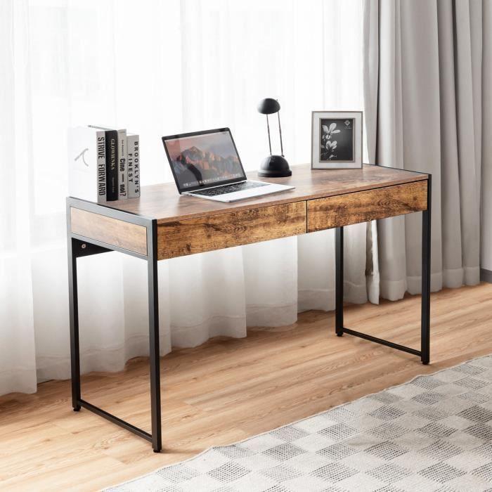 COSTWAY Table de Bureau en Bois et Acier avec 2 Tiroirs 112x48x76CM Design Rétro Poste de Travail pour Bureau,Salon,Chambre