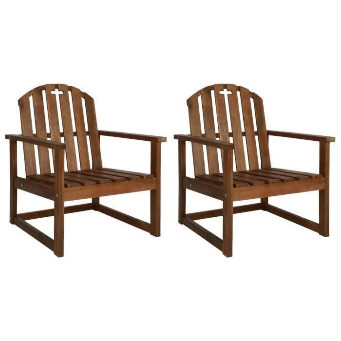 FIHERO - Chaise de jardin avec accoudoirs 2 pcs Bois d'acacia massif