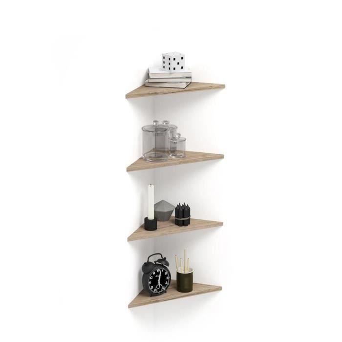 Mobili Fiver, Set de 4 étagères d'angle Easy, Chêne, Mélaminé, Made in Italy