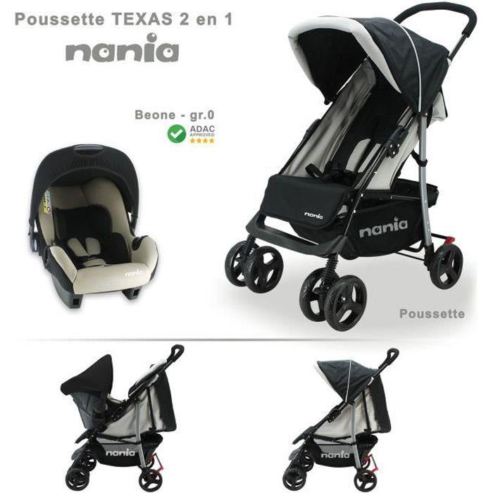 Poussette combinée TEXAS + siège auto BEONE nania Grp 0+ (0-13Kg)
