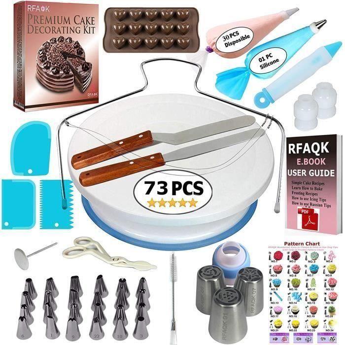 73 Pièces Poche à Douilles Moule de Décoration de Gâteau,Outils Ustensiles de Pâtisserie DIY Kits pour Décoration de Gâteaux