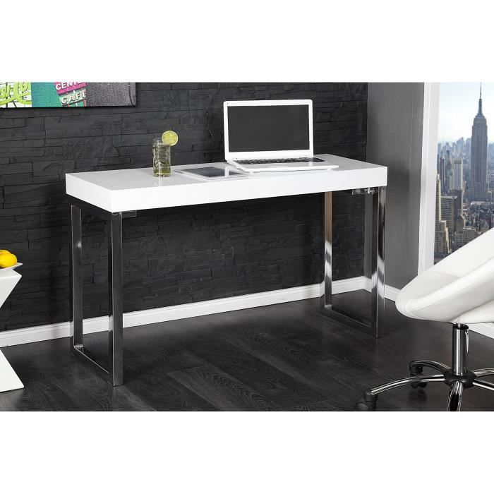 Bureau Design rectangle blanc laqué de 120 cm