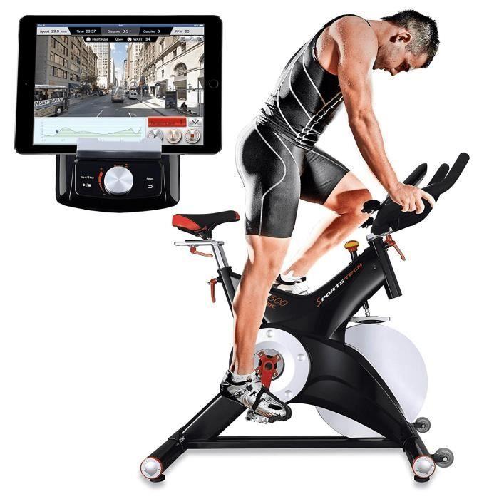 Vélo d'appartement SX500 aerobic Google street view cardio roue inertie 25 kg pédale SPD application fitness