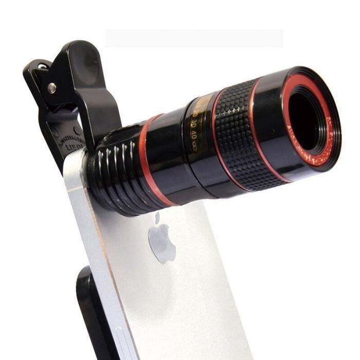 Matcheasy universel 12X Zoom télescope lentille loupe pince sur binoculaire photographie pour téléphone portable Sma - Black - HF709