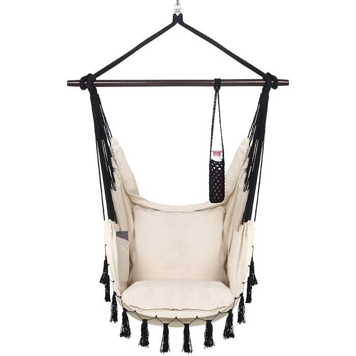 fauteuil de jardin VITA5 Fauteuil Suspendu avec 2 Coussins, Compartiment de Livres et Porte-gobelet – Hamac Suspendu XXL Interie1