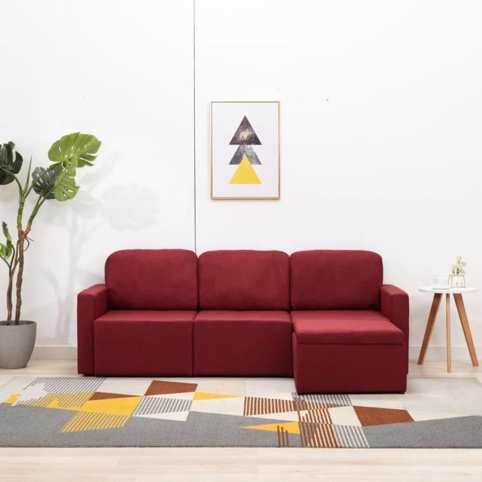 Canapé-lit modulaire 3 places Rouge bordeaux Tissu -PAI