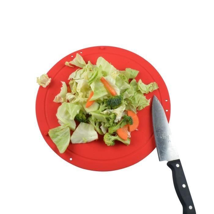 Planche à découper,Planche à découper cuisine sécurité et hygiène Silicone pliable Flexible tapis rond - Type Rouge