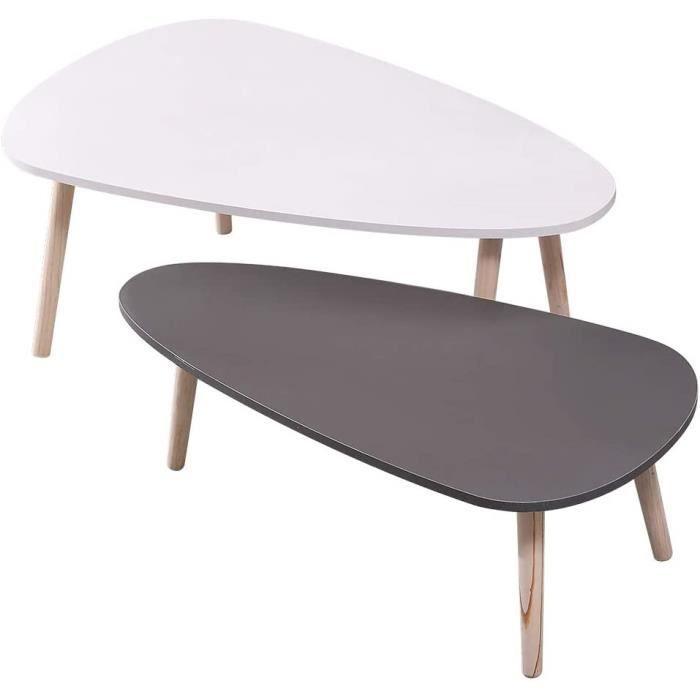 Table d'appoint Lot de 2 Tables Basses Ovale Table de Salon avec Pieds en Bois Table Basse Scandinave Petite Table Gigogne Set Grand
