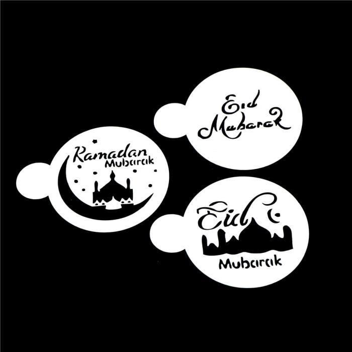 Moule,Pochoirs à café avec Design blanc mosquée, Eid Mubarak, Ramadan, outils de décoration, découpés au Laser, - Type 3pcs