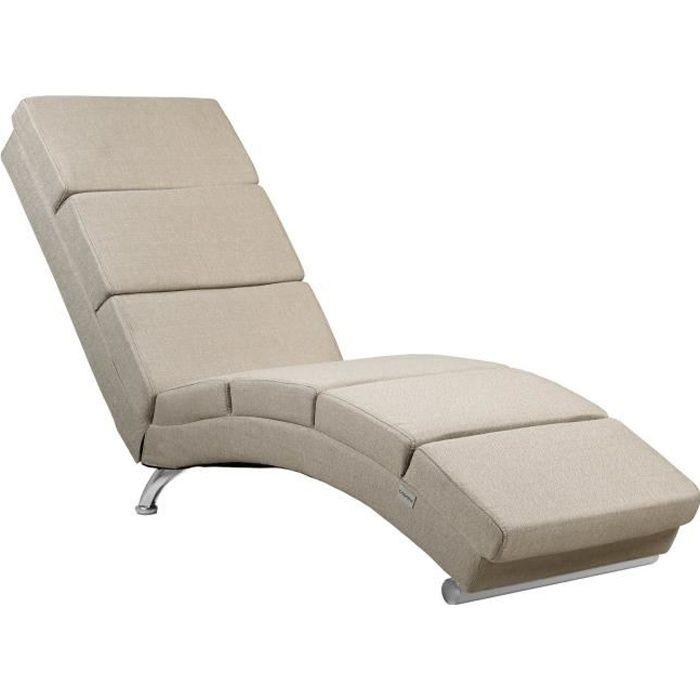 Méridienne « London » Chaise de Relaxation Chaise Longue d'intérieur ergonomique Fauteuil rembourré Pieds chromés Sable