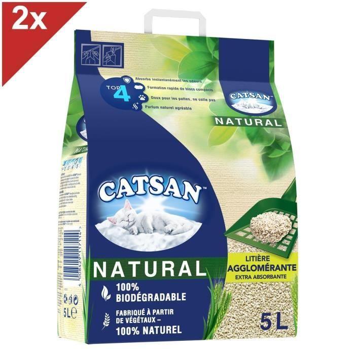 CATSAN Natural Litière naturelle végétale agglomérante pour chat 2 sacs de 5L