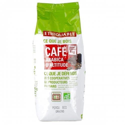 ETHIQUABLE Café grain 100 % Arabica Pérou Bio - 1 kg