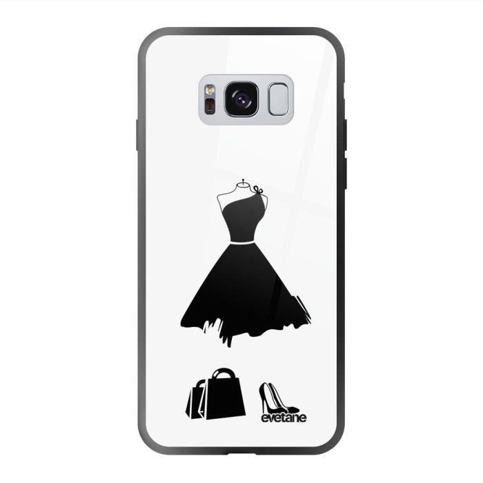 Coque en verre trempé Samsung Galaxy S8 noir My little black dress Ecriture Tendance et Design Evetane