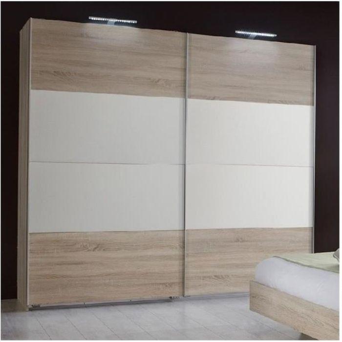 Armoire EVA portes coulissantes largeur 180 chêne clair / blanc natural Bois Inside75