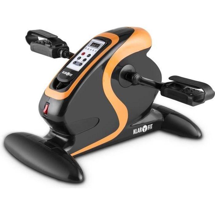 Klarfit MiniBike Appareil d'entraînement moteur, vélo portable thérapeutique 12 vitesses 120 kg télécommande + écran - noir/orange