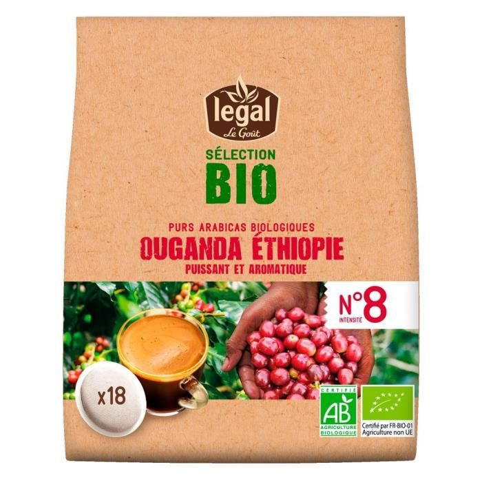 LEGAL Cafés Selection Bio Ouganda Ethiopie - 18 Dosettes - 125 g