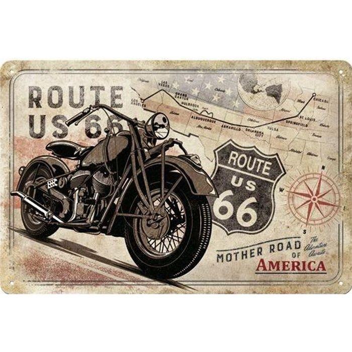 Plaque en métal 20 X 30 cm Route 66 : moto vintage sur la route mythique