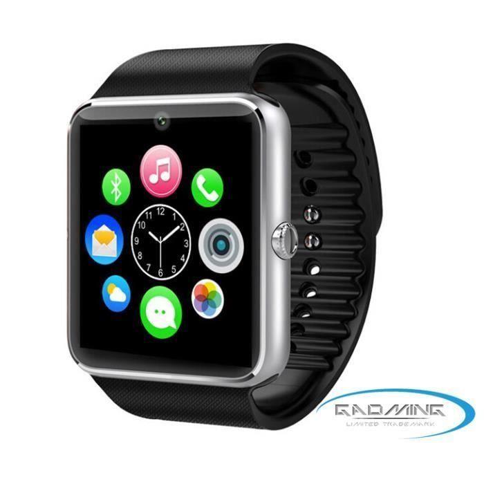 Montre connectée GT08 haut de gamme noire pour Apple iPhone 6s
