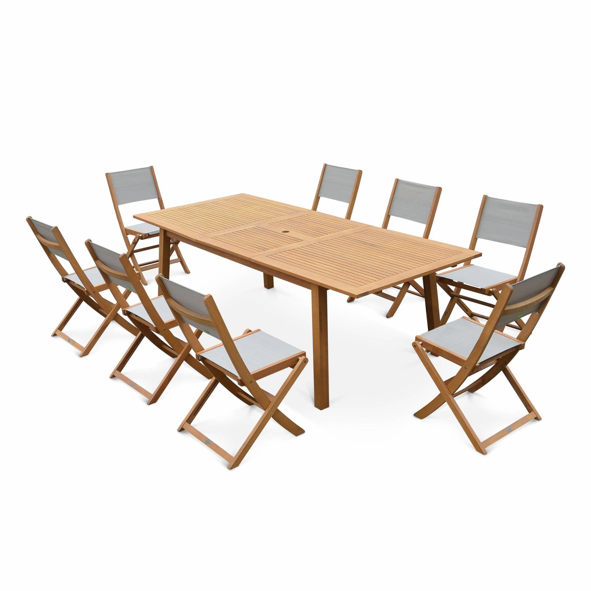 Salon de jardin en bois extensible - Almeria - Grande table 180/240cm avec  rallonge, 8 chaises, en bois d\'Eucalyptus FSC huilé et
