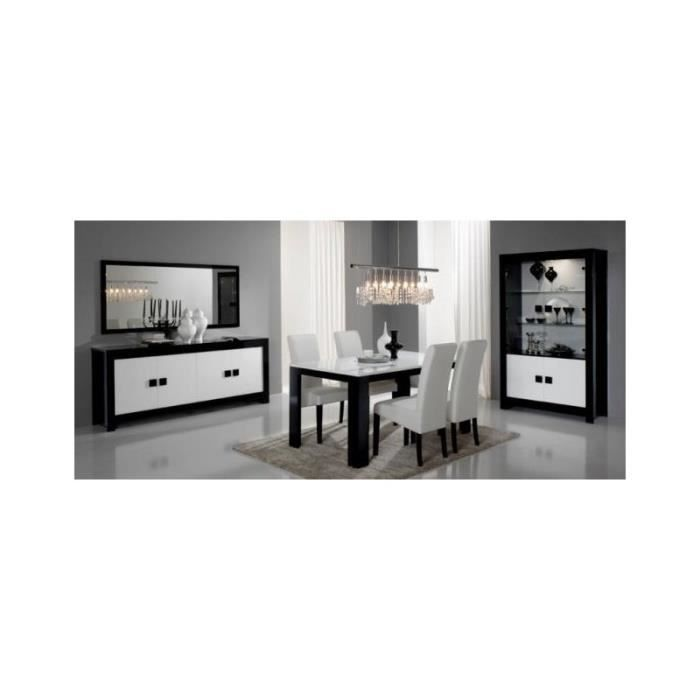 salle manger compl te pisa laqu noir blanc brillant achat vente salon complet soldes. Black Bedroom Furniture Sets. Home Design Ideas