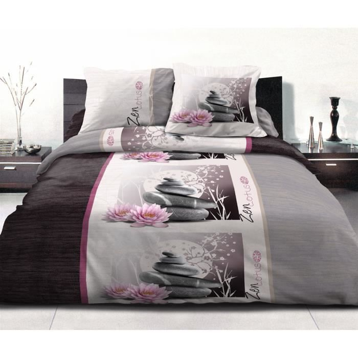 housse de couette microfibre zen lotus 220cm par 240cm noir grise et rose achat vente housse. Black Bedroom Furniture Sets. Home Design Ideas