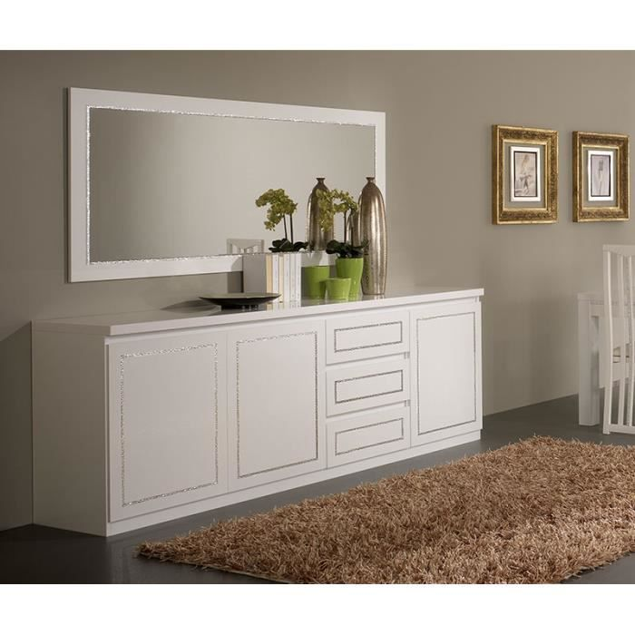 buffet bahut blanc laqu design arnold 3 portes 3 tiroirs. Black Bedroom Furniture Sets. Home Design Ideas